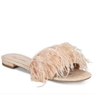 🆕 ZiGi Soho Women's Ostrich Feather Slide Sandal